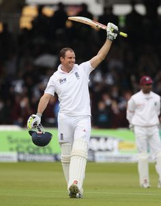 Andrew Strauss (Eng) celebrates after reaching hundred vs West Indies, 1st Test at Lord's, May 18, 2012