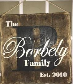 A personal favorite from my Etsy shop https://www.etsy.com/ca/listing/260418782/rustic-family-name-sign-wood-pallet