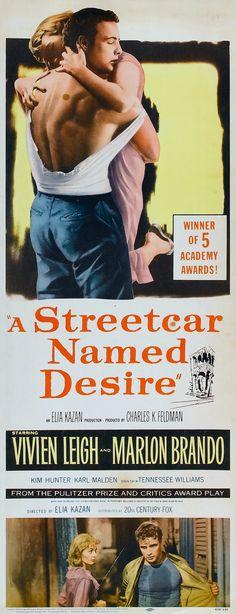 """A Streetcar Named Desire"" (1951). COUNTRY: United States. DIRECTOR: Elia Kazan. SCREENWRITER: Tennessee Williams (Play: Tennessee Williams). CAST: Vivien Leigh, Marlon Brando, Kim Hunter, Karl Malden"