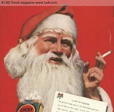 #funny #smoking #cigarettes #cigars #santaclaus #santa #holidays #classic #vintage #yuletide #advertisement #parody #comedy #marketing