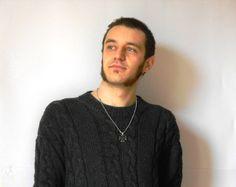Aran Men Sweater knit men sweater in  Pure Merino by cosediisa