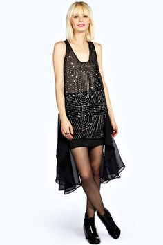 1920s inspired party dress - boohoo Boutique Lucia Hanky Hem Bead Front Long Tunic Dress - black