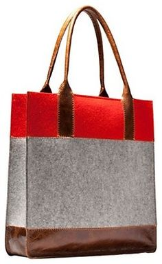 We've taught you how to color block just about everything, so now it's time to start thinking about doing the same to your wardrobe. From in-your-face color combos to classy linear shapes, amp up your look with these 40 color block styles. To Color, Looks Style, Red And Grey, Grey Leather, Bag Making, Vegetable Tanned Leather, Color Blocking, Reusable Tote Bags, Handbags