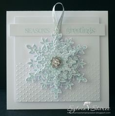 stampin up festive flurry ornament | stamped all the snowflakes with Soft Sky ink, added some SU Dazzling ...