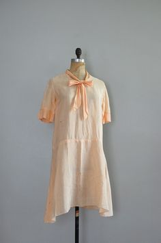 1920s soft peach and white check cotton dress