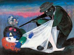 Arthur Boyd, Persecuted Lovers, oil and tempera, Art Gallery of South Australia Australian Painting, Australian Artists, Arthur Boyd, Tempera, Summer Art, Impressionist, Art Inspo, Contemporary Art, Art Gallery