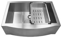 GV 29Inch Stainless Steel Handmade Kitchen Sink Farmhouse Apron W/Rinsing Basket contemporary-kitchen-sinks