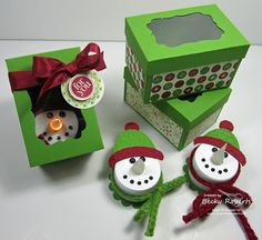 Snowman Tea Light and gift box for giving. Instructions for box included. Inking Idaho: A Box For The Snowmen