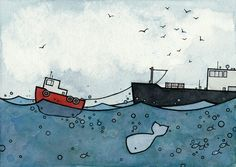 Whale and Tugboat Print from watercolor 5x7 by studiotuesday on Etsy https://www.etsy.com/listing/61449615/whale-and-tugboat-print-from-watercolor
