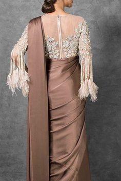 Buy Stunning Designer Pearl work blouse with tassle sleeve and saree: Perfect Panache Kids Blouse Designs, Sari Blouse Designs, Bridal Blouse Designs, Sari Design, Blouse Patterns, Designer Party Dresses, Indian Designer Outfits, Pakistani Dress Design, Pakistani Suits