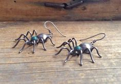 """Vintage 1"""" Native American spider earrings, American Indian malachite sterling silver spider jewelry, Navajo spider earrings, spider totem"""