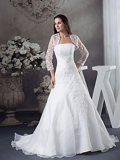 Lace Bolero with Appliqued Strapless Organza Wedding Dress - USD $226.00