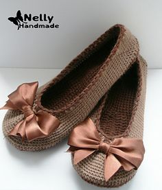 Give a gift of fashionable warm feet with these Lovely Ballerina Slippers designed by Nelly Handmade, crocheted in Aran weight yarn.