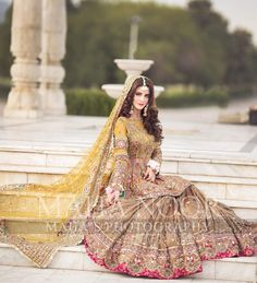 Image may contain: one or more people and outdoor Pakistani Mehndi Dress, Pakistani Party Wear Dresses, Bridal Mehndi Dresses, Asian Bridal Dresses, Asian Wedding Dress, Shadi Dresses, Pakistani Wedding Outfits, Bridal Dress Design, Wedding Dresses For Girls