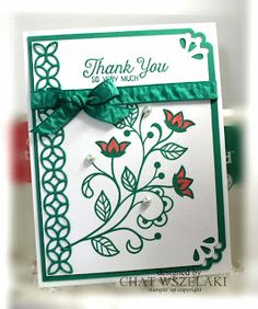 """STAMPS:  Flourishing Phrases. PAPER:  Whisper White, Emerald Envy. INK:  Emerald Envy, 2016-2018 In Color Markers. OTHER:  Big Shot, Flourish Thinlits, Emerald Envy 3/8"""" Ruched Ribbon, Pearl Basic Jewels, Curvy Corner Trio."""