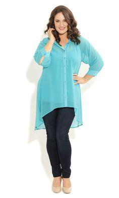 City Chic - SURPRISE BACK SHIRT - Women's plus size fashion
