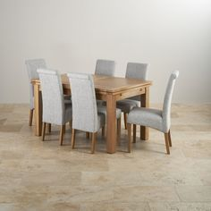 """Dorset Natural Solid Oak 4ft 7"""" Extending Table with 6 Scroll Back Plain Grey Fabric Chairs from Oak Furnitureland"""