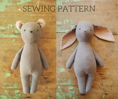 Bunny rabbit and bear stuffed animal doll sewing pattern / soft toy PDF tutorial. Bunny rabbit and bear stuffed animal doll sewing pattern / soft toy PDF tutorial Bunny rabbit and b Softies, Sewing Toys, Sewing Crafts, Sewing Projects, Baby Sewing, Animal Sewing Patterns, Easy Sewing Patterns, Pattern Sewing, Doll Patterns