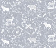 Woodland Winter Toile (in Snow) fabric by nouveau_bohemian on Spoonflower - custom fabric