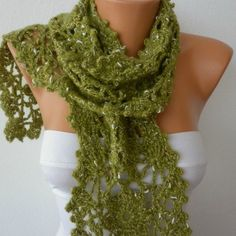 Women Crochet  Scarf   Cowl Scarf Grass Green by fatwoman on Etsy, $44.00