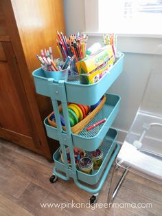 This IKEA cart makes for the perfect art  craft cart. Kid's Art Supply Cart on NEW Art Studio Tour @ pink and green mama blog!