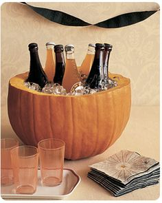 I love this idea for Halloween or Thanksgiving parties!  Great decor, but also practical use!