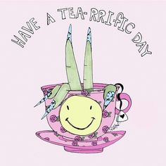 """Have a """"Tea-rrIfic day"""" Unicorns! ✌️ Art by valfre-journal."""