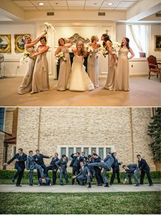 Unique and fun bridal party photos for the bridesmaids and groomsmen