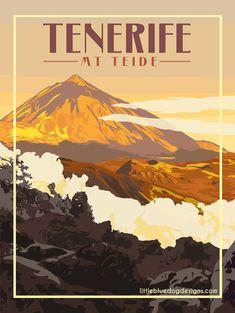 © 2021 Little Blue Dog Designs Poster Vintage, Vintage Travel Posters, Tenerife, Zoom Call, Blue Dog, Lofoten, Rest Of The World, Colour Schemes, Dog Design