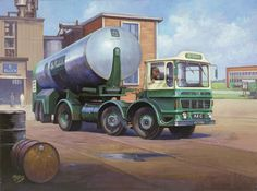 AEC Air Products by Mike Jeffries - In 1964 the maximum gross lorry weight was increased to 32 tons on four-axle arctic's but carried a risk of overloading the tractor unit's rear axle. One answer was the layout adopted by AEC's Mammoth Minor where a second steering axle on the tractive unit was added as on this impressive Air Products tanker.