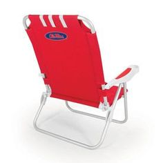 Picnic Time Red Ncaa Ole Miss Rebels Steel Folding Beach Chair 790-00-