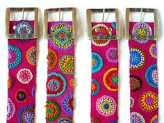Hand embroidered belt fuchsia with circles belt by EmbroideryPeru