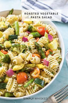 This roasted vegetable pasta salad recipe is fun twist on a summer classic with roasted vegetables and pasta tossed in Italian dressing and served cold. Roasted Vegetable Pasta, Vegetable Pasta Salads, Roasted Vegetables, Vegetable Recipes, Best Pasta Salad, Pasta Salad Recipes, Shrimp Macaroni Salad, Summer Salad Recipes, Comfort Food