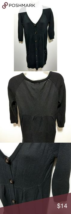 Slouchy black three-fourths sleeves sweater a.y.k. oversized black 3/4-sleeves cardigan sweater. With two pockets in front.   Tag does not have size on it. My best guess is a medium to large. Length = about 35 inches.  Used a few times. In good condition.   a.y.k. seems to be a South African brand that closed down in November 2016. Not absolutely sure.  #pakainin #solidblack #blackcardigan #blacksweater ayk Sweaters Cardigans