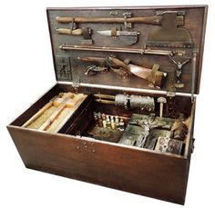 Red Baron Antiques brings us this interesting vampire killing kit . It& filled with a whole lot of stuff, which actually works to its detr. Werewolf Hunter, Vampire Hunter, Hunter Tools, Zombie Survival Guide, Wooden Trunks, Wood Chest, Hunting Equipment, Monster Hunter, Box Art