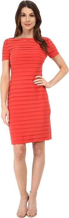 Adrianna Papell Women's Partial Tuck Dress w/ Short Sleeve -- Learn more by visiting the image link.