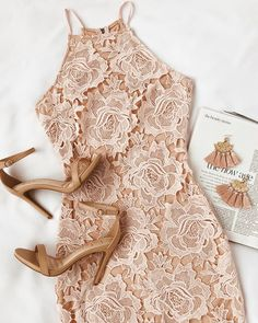The Temps De L'Amour Blush Pink Lace Bodycon Midi Dress will put you in the mood for love! Crochet lace and a nude lining shape this bodycon midi dress. Blush Dresses, Pretty Dresses, Dresses Dresses, Dance Dresses, Beautiful Dresses, Casual Dresses, Short Dresses, Summer Outfits, Cute Outfits