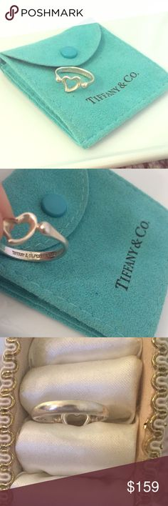 TIFFANY & CO. Elsa Peretti Open Heart Ring Size 6 AUTHENTIC. POUCH INCLUDED. 925 sterling silver. Tiffany & Co. Jewelry Rings