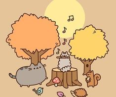 Pusheen Stormy, Chibi Cat, Mean Cat, Thanksgiving Wallpaper, Cute Cats And Dogs, Cute Friends, Halloween Cat, Halloween Stuff, Planner