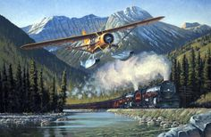 Canadian Classics by Ross Buckland (Noorduyn Norseman) Train Illustration, Canadian Pacific Railway, Float Plane, Painting Competition, Train Art, Flying Boat, Aviation Art, Sports Art, Online Painting