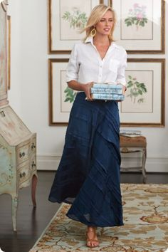 Love the whole look. Silk Tiered Skirt I - Silk Skirt, Tiered Skirt, Back Elastic Waist, Side Zip, Fully Lined Modest Outfits, Skirt Outfits, Modest Fashion, Casual Outfits, Silk Skirt, Dress Skirt, Tank Dress, Look Fashion, Womens Fashion