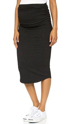 MONROW Maternity Skirt   Exclusive to Shopbop. A casual MONROW maternity skirt. Shirring gathers the sides. Elastic waistband. Fabric: Slubbed jersey. 47% polyester/36% cotton/12% rayon/5% spandex. Wash cold. Made in the USA. Measurements   Length: 31.5in / 80cm Measurements from size S