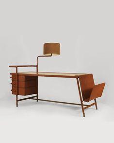 JACQUES ADNET, Desk & Lamp, Maple & Leather, 1940's. @jonwbenedict on Instagram