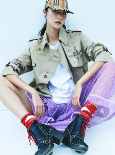 Park Ji Hye pictured in W Korea wearing a sketch print tropical gabardine trench and flocked cotton tulle skirt