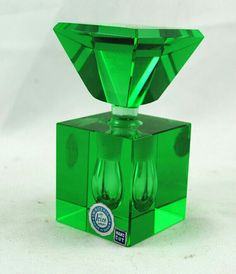 Vintage 1930's Art Deco Square Perfume Bottle, hand cut Irice made in Japan