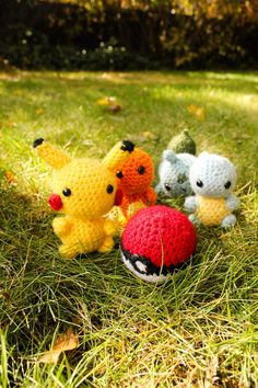 Charmander, Bulbasaur, Squirtle, Pikachu Amigurumi Plush and Pokeball Inspired by Pokemon
