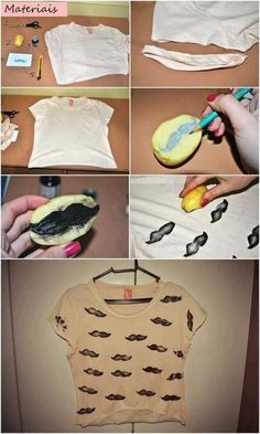 Not really into the mustache, but the potato stamp is awesome Old T Shirts, Cut Shirts, Diy Fashion, Autumn Fashion, Fashion Ideas, Fashion Trends, Mustache Shirt, Potato Stamp, Potato Print