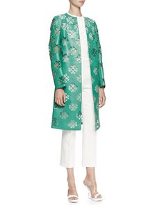 Floral Laser-Cut Leather Coat, Solid Crewneck Top & Cropped Leaf Crepe Pants by Alexander McQueen at Neiman Marcus.