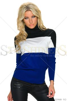 Foreign Language DarkBlue Blouse Fall Trends, Leather Material, Clothing Items, Long Sleeve Sweater, Beautiful Outfits, Knitwear, Dark Blue, Language, Turtle Neck