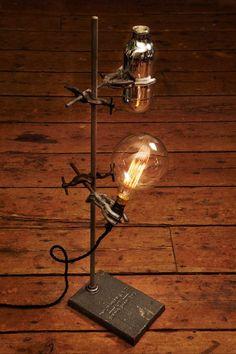 Lamp using vintage lab stand parts. #InteriorDecorInspiration #Lamps